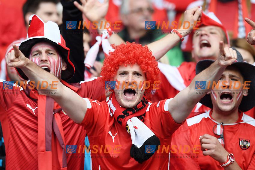 tifosi Austria Fans <br /> Paris 18-06-2016 Parc Des Princes Football Euro2016 Portugal - Austria / Portogallo - Austria Group Stage Group F. Foto Matteo Gribaudi / Image Sport / Insidefoto