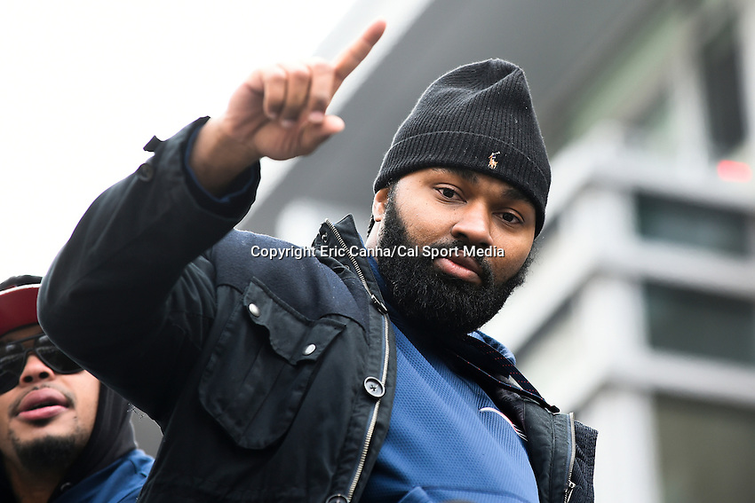 February 4, 2015 - Boston, Massachusetts, U.S. -  New England Patriots middle linebacker Jerod Mayo (51) celebrates  during a parade held in Boston to celebrate the team's victory over the Seattle Seahawks in Super Bowl XLIX. Eric Canha/CSM