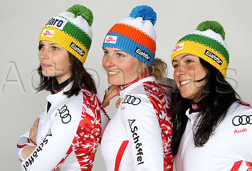 16.10.2010  Ski Alpine OSV Austria team portraits. Picture shows Anna Fenninger, Mariella Voglreiter and Margret Alta Cher.