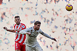 Real Madrid's Sergio Ramos and Girona FC's Cristhian Stuani during La Liga match between Real Madrid and Girona FC at Santiago Bernabeu Stadium in Madrid, Spain. February 17, 2019. (ALTERPHOTOS/A. Perez Meca)