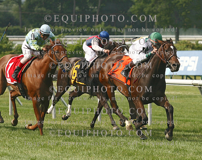 Karen's Caper #7 with Brice Blanc riding won the $150,000 Eatontown Stakes at Monmouth Park in Oceanport, N.J. on Saturday June 16, 2007. Second was #1 Redaspen with Victor Molina and third was Roshani #2 with Chris DeCarlo.  Photo By Bill Denver/EQUI-PHOTO