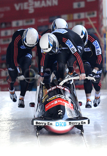 13.01.2013. Koenigssee, Germany.  German bobsled racers Maximilian Arndt (FRONT), Marko Huebenbecker, Alexander Roediger and Martin Putze start their run during the FIBT 4 Men Bob World Cup in Koenigssee,Germany, 13 January 2013.