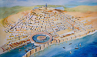 Painting of the Punic city's harbour in the National Archaeological Museum. Carthage, Tunisia, pictured on February 1, 2008, in the afternoon. Carthage was founded in 814 BC by the Phoenicians who fought three Punic Wars against the Romans over this immensely important Mediterranean harbour. The Romans finally conquered the city in 146 BC. Subsequently it was conquered by the Vandals and the Byzantine Empire. Today it is a UNESCO World Heritage. The National Archaeological Museum (Musee National de Carthage) houses an impressive collection of Punic and Christian relics found in the excavations, including stelae, jewellery, sarcophagi and reliefs. It also features maps, photographs and models of the ancient city. Picture by Manuel Cohen.