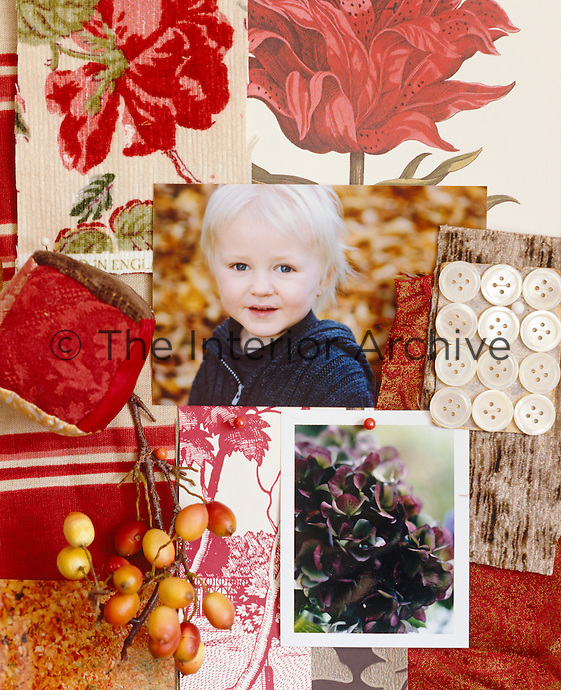 A mood board with an autumn-inspired collection of pictures, scraps of fabric and berries