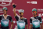 Marcus Burghardt (GER), Peter Sagan (SVK) and Daniel Oss (ITA) Bora-Hansgrohe team at sign on before the start of the 2020 Strade Bianche Elite Men running 184km from Fortezza Medicea Siena to Piazza del Campo Siena, Italy. 1st August 2020.<br /> Picture: Bora-Hansgrohe/Luca Bettini/BettiniPhoto | Cyclefile<br /> <br /> All photos usage must carry mandatory copyright credit (© Cyclefile | Bora-Hansgrohe/Luca Bettini/BettiniPhoto)