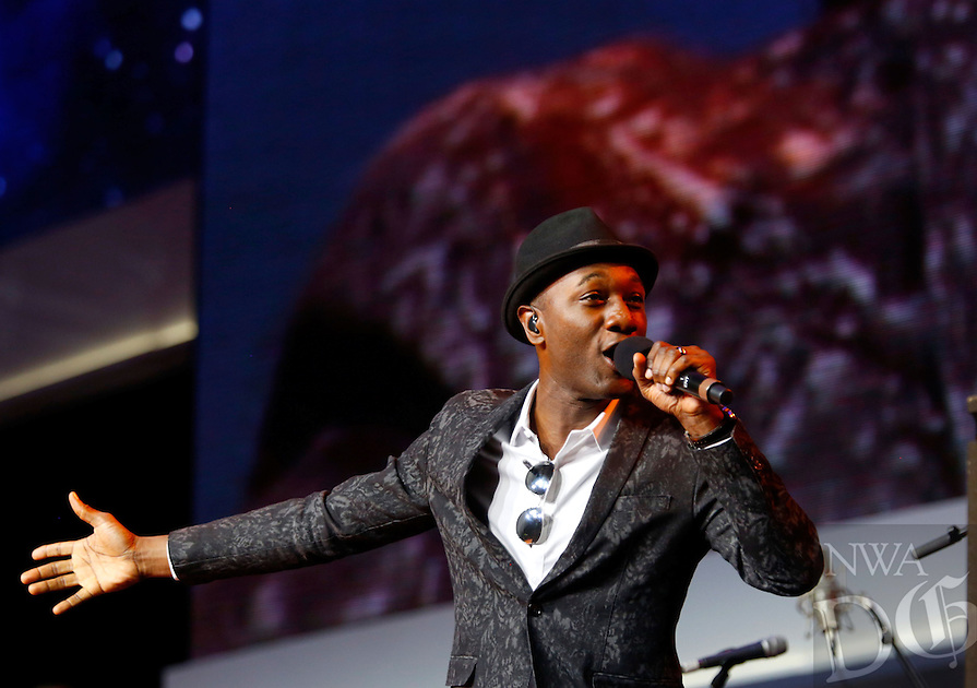 NWA Media/JASON IVESTER --06/06/2014--<br /> Aloe Blacc performs on stage on Friday, June 6, 2014, during the annual Shareholders Meeting inside Bud Walton Arena in Fayetteville.