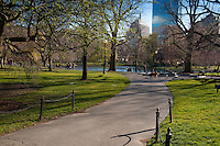 The lagoon, paths and green lawns of the Boston Public Garden