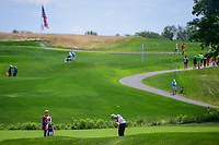 Brooke M. Henderson (CAN) hits her approach shot on 2 during Sunday's final round of the 72nd U.S. Women's Open Championship, at Trump National Golf Club, Bedminster, New Jersey. 7/16/2017.<br /> Picture: Golffile | Ken Murray<br /> <br /> <br /> All photo usage must carry mandatory copyright credit (&copy; Golffile | Ken Murray)