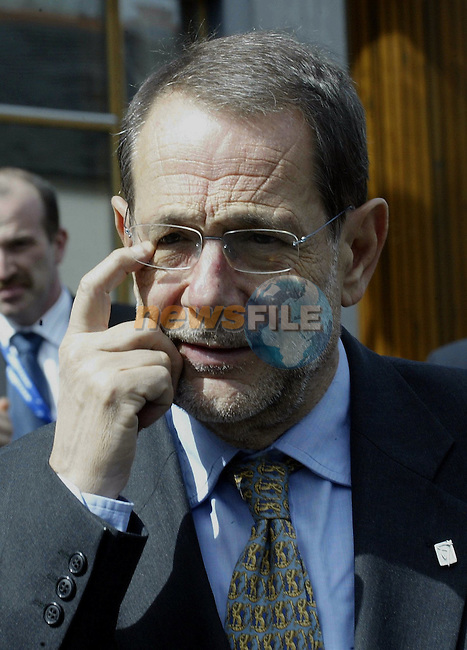 EU Foreign Policy Chief ,spanish Javier Solana gestures prior the Informal Foreign minister Council in Tullamore (Ireland) 16 april 2004. AFP PHOTO GERARD CERLES
