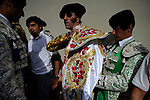 Spanish matador Juan Jose Padilla (C) is seen before the last corrida of the San Fermin Festival, on July 14, 2012, in the Northern Spanish city of Pamplona. (c) Pedro ARMESTRE