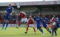 Fleetwood Town's Wes Burns heads towards goal watched by Wimbledon's Tennai Watson and Will Nightingale<br /> <br /> Photographer Stephen White/CameraSport<br /> <br /> The EFL Sky Bet League One - Fleetwood Town v AFC Wimbledon - Saturday 4th August 2018 - Highbury Stadium - Fleetwood<br /> <br /> World Copyright &copy; 2018 CameraSport. All rights reserved. 43 Linden Ave. Countesthorpe. Leicester. England. LE8 5PG - Tel: +44 (0) 116 277 4147 - admin@camerasport.com - www.camerasport.com