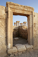 Shop doorway in the Roman Forum, with Tetrapylon behind, Palmyra, Syria Picture by Manuel Cohen