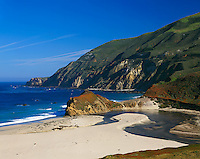 Monterey County, CA<br /> Little Sur creek flows on beach near Point Sur with Big Sur coastline and headlands in the distance, Cabrillo Highway