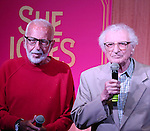 Joe Masteroff and Sheldon Harnick performs at the CD release signing for  the Broadway revival of 'She Loves Me' at Barnes and Noble 86th street on August 3, 2016 in New York City.
