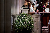 Jenna Bush Hager, the daughter of former President George Bush, speaks during the State Funeral for former President George H.W. Bush at the National Cathedral, Wednesday, Dec. 5, 2018, in Washington.<br /> Credit: Andrew Harnik / Pool via CNP