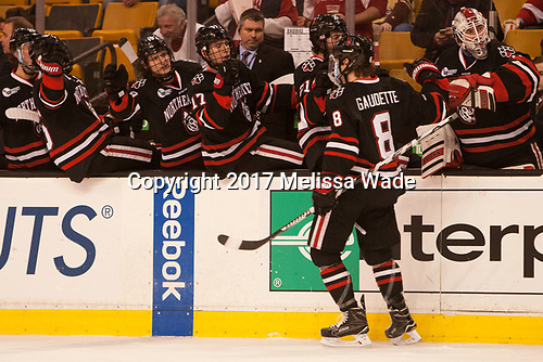 Adam Gaudette (NU - 8) - The Harvard University Crimson defeated the Northeastern University Huskies 4-3 in the opening game of the 2017 Beanpot on Monday, February 6, 2017, at TD Garden in Boston, Massachusetts.