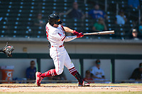 Mesa Solar Sox second baseman Jahmai Jones (9), of the Los Angeles Angels organization, swings at a pitch during an Arizona Fall League game against the Surprise Saguaros at Sloan Park on November 1, 2018 in Mesa, Arizona. Surprise defeated Mesa 5-4 . (Zachary Lucy/Four Seam Images)