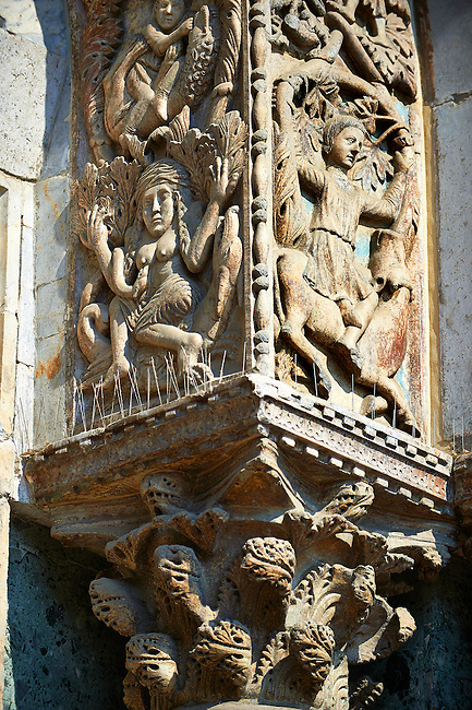 """13th century Medieval Romanesque Sculptures from the facade of St Mark's Basilica, Venice, depicting """"Lust"""" and Samson killing the lion cubs."""