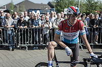 Luxembourg National Champion Bob Jungels (LUX/Quick Step Floors) waiting the pre race team presentation. <br /> <br /> 82nd La Fl&egrave;che Wallonne 2018<br /> 1 Day Race: Seraing - Huy (198,5km)