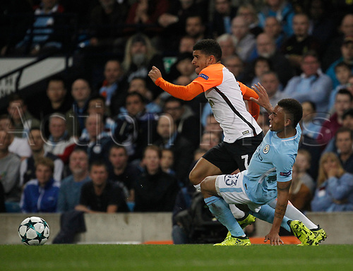 26th September 2017, Etihad Stadium, Manchester, England; UEFA Champions League football, Manchester City versus Shakhtar Donetsk; Taison of FC Shakhtar Donetsk goes past the challenge of Gabriel Jesus of Manchester City