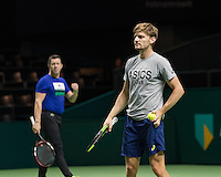 ABN AMRO World Tennis Tournament, Rotterdam, The Netherlands, 19 Februari, 2017, Thierry Van Cleemput, David Goffin (BEL)<br /> Photo: Henk Koster
