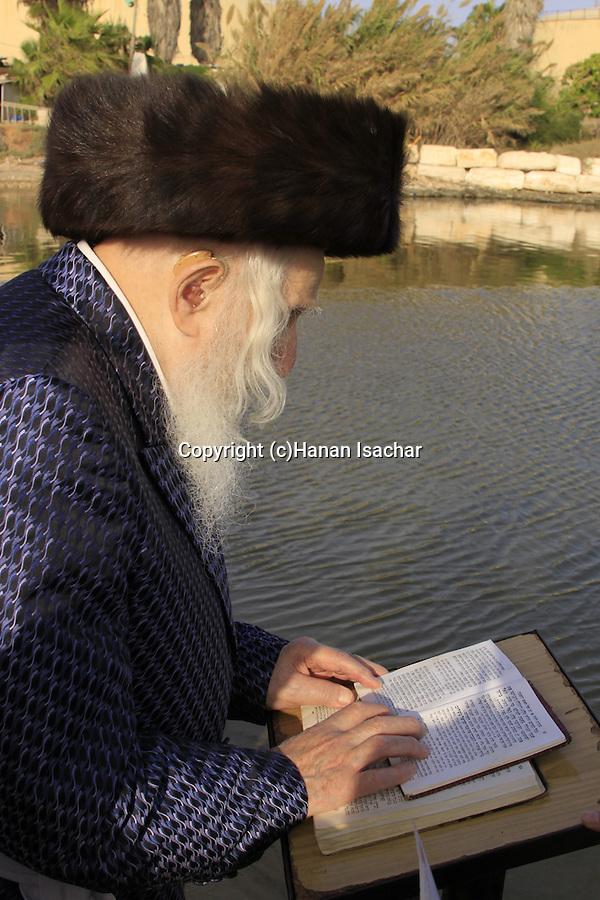 Israel, Tel Aviv, Tashlich prayer of the Premishlan congregation by the Yarkon River, the Admor