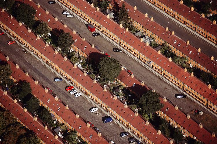 Aerial of yellow row houses, Kronprinzessegade. Copenhagen, Denmark.