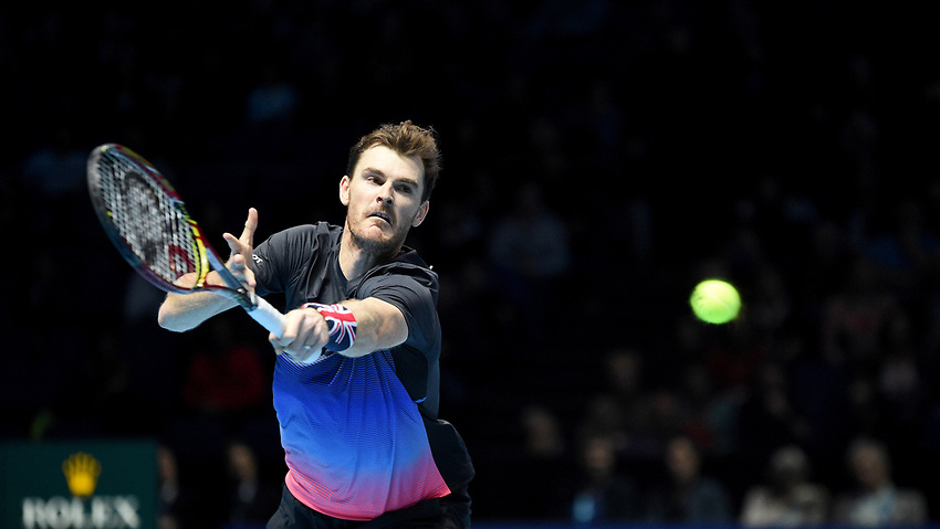 Jamie Murray in action with his partner Bruno Soares in their semi final match against Mike Bryan and Jack Sock<br /> <br /> Photographer Hannah Fountain/CameraSport<br /> <br /> International Tennis - Nitto ATP World Tour Finals Day 7 - O2 Arena - London - Saturday 17th November 2018<br /> <br /> World Copyright © 2018 CameraSport. All rights reserved. 43 Linden Ave. Countesthorpe. Leicester. England. LE8 5PG - Tel: +44 (0) 116 277 4147 - admin@camerasport.com - www.camerasport.com