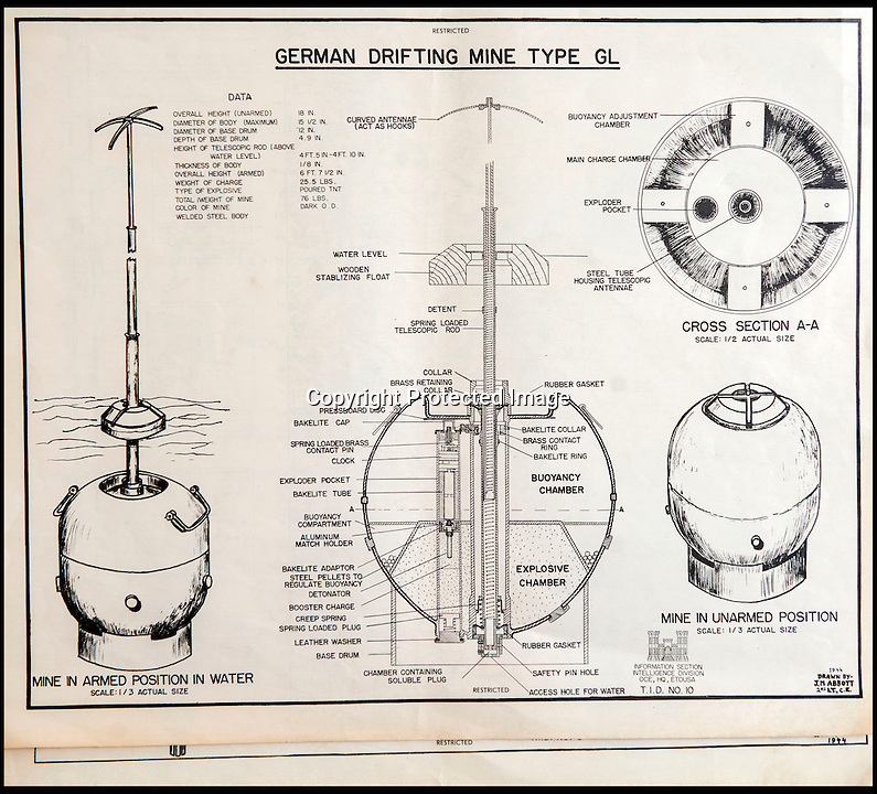BNPS.co.uk(01202 558833)<br /> Pic: C&TAuctions/BNPS<br /> <br /> Detailed breakdown of a German drifting mine that may have been encountered in the waters off the beaches.<br /> <br /> Found in a french flea market - a Top Secret 'how to' guide to D-Day.<br /> <br /> Fascinating top secret documents and photos of the extensive planning that went into the Normandy invasion have emerged after 72 years.<br /> <br /> Incredibly detailed plans of Nazi defences, high resolution photographs, weekly intel reports and even analysis of the German weapons they were likely to face are included in the sale.<br /> <br /> One photo taken at zero feet shows German troops scattering across a beach as a low-level RAF aircraft sweeps by to capture the plethora of anti-landing obstacles.<br /> <br /> Other images show the famous coastline with key cliff-top targets that had to be destroyed either before or on D-Day itself.<br /> <br /> The archive is being sold by C&T Auctions of Kent.