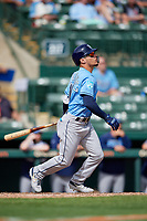 Tampa Bay Rays pinch hitter Andrew Velazquez (11) follows through on a swing during a Grapefruit League Spring Training game against the Baltimore Orioles on March 1, 2019 at Ed Smith Stadium in Sarasota, Florida.  Rays defeated the Orioles 10-5.  (Mike Janes/Four Seam Images)