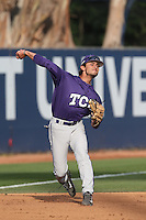 Elliott Barzilli (5) of the TCU Horned Frogs throws between innings during a game against the Loyola Marymount Lions at Page Stadium on March 16, 2015 in Los Angeles, California. TCU defeated Loyola, 6-2. (Larry Goren/Four Seam Images)