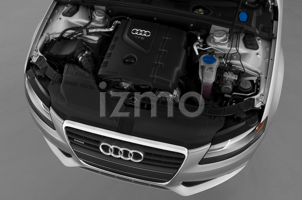 High angle engine detail of a 2011 Audi A4 Sedan