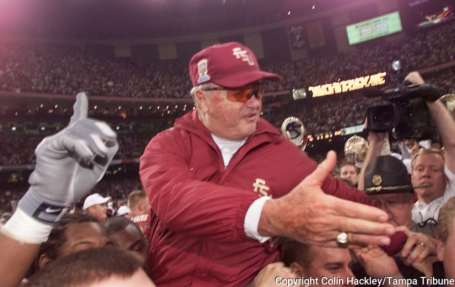 NEW ORLEANS, LA 1/4/00-Florida State Coach Bobby Bowden rides the shoulders of his players after the Seminoles won their second national Championship by defeating Virginia Tech in Sugar Bowl. COLIN HACKLEY PHOTO