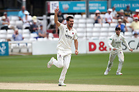Tim Groenewald of Somerset celebrates taking the wicket of Simon Harmer during Essex CCC vs Somerset CCC, Specsavers County Championship Division 1 Cricket at The Cloudfm County Ground on 25th June 2019