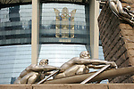 18 August 2008: Detail of an Olympic sculpture outside of Shanghai Stadium.  The women's Olympic soccer team of Brazil defeated the women's Olympic soccer team of Germany 4-1 at Shanghai Stadium in Shanghai, China in a Semifinal match in the Women's Olympic Football competition.