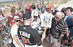 Ichiro Suzuki (Marlins),<br /> FEBRUARY 25, 2015 - MLB :<br /> Ichiro Suzuki of the Miami Marlins signs autographs for fans during the Miami Marlins spring training camp in Jupiter, Florida, United States. (Photo by AFLO)