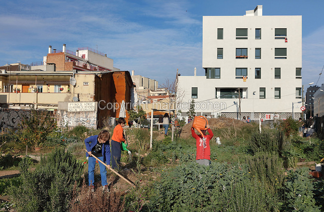 Children watering vegetables and gardening in El Hort Indignat, an urban allotment project in the El Poblenou district of Barcelona, Catalonia, Spain. The industrial neighbourhood fell into decline after the Industrial Revolution, and has recently been redeveloped, triggered by the Olympic Games of 1992, with old factories converted into apartment buildings and offices, resulting in a vibrant, young and artistic community. Picture by Manuel Cohen