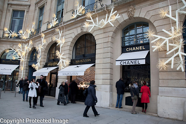 Chanel and Mauboussin Shops in Place Vendome Square in Paris, France