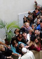 Papa Francesco saluta i fedeli al termine della sua visita pastorale alla chiesa di Santo Stanislao dei Polacchi a Roma, 4 maggio 2014.<br /> Pope Francis greets faithful at the end of his pastoral visit to the church of St. Stanislaw of Poles in Rome, 4 May 2014.<br /> UPDATE IMAGES PRESS/Riccardo De Luca<br /> <br /> STRICTLY ONLY FOR EDITORIAL USE