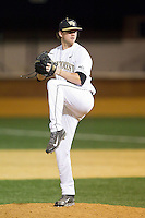 Wake Forest Demon Deacons relief pitcher Connor Kaden (40) in action against the High Point Panthers at Wake Forest Baseball Park on April 2, 2014 in Winston-Salem, North Carolina.  The Demon Deacons defeated the Panthers 10-6.  (Brian Westerholt/Four Seam Images)