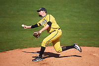 Alabama State Hornets relief pitcher Chase Laney (20) delivers a pitch during a game against the Maryland Terrapins on February 19, 2017 at Spectrum Field in Clearwater, Florida.  Maryland defeated Alabama State 9-7.  (Mike Janes/Four Seam Images)