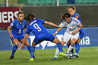 Daniela Sabatino of Italy challenges for the ball with Marija Aleksic of Bosnia and Herzegovina<br /> Palermo 08-10-2019 Stadio Renzo Barbera <br /> UEFA Women's European Championship 2021 qualifier group B match between Italia and Bosnia-Herzegovina.<br /> Photo Carmelo Imbesi / Insidefoto