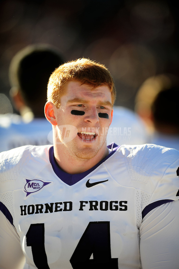 Nov. 27, 2010; Albuquerque, NM, USA; TCU Horned Frogs quarterback (14) Andy Dalton against the New Mexico Lobos at University Stadium. TCU defeated New Mexico 66-17 to finish the season undefeated. Mandatory Credit: Mark J. Rebilas-