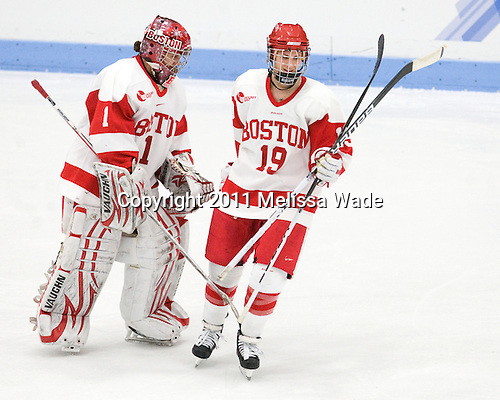 Kerrin Sperry (BU - 1), Jenelle Kohanchuk (BU - 19) - The Boston University Terriers defeated the visiting Mercyhurst College Lakers 4-2 in their NCAA Quarterfinal matchup on Saturday, March 12, 2011, at Walter Brown Arena in Boston, Massachusetts.