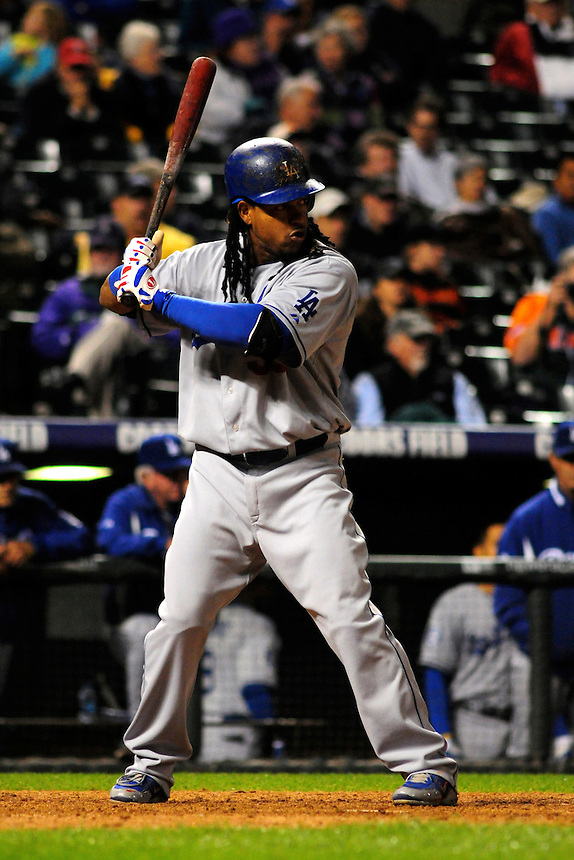 12 September 2008: Los Angeles Dodgers outfielder Manny Ramirez at bat against the Colorado Rockies. The Dodgers defeated the Rockies 7-2 at Coors Field in Denver, Colorado. FOR EDITORIAL USE ONLY