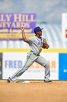 Hartford Yard Goats shortstop Luis Jean (17) turns a double play to end the bottom of the eighth inning during a game against the Binghamton Rumble Ponies on July 9, 2017 at NYSEG Stadium in Binghamton, New York.  Hartford defeated Binghamton 7-3.  (Mike Janes/Four Seam Images)