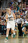 01 APRIL 2012:  Brittany Mallory (22) of the University of Notre Dame celebrates a three pointer against the University of Connecticut during the Division I Women's Final Four Semifinals at the Pepsi Center in Denver, CO.  Notre Dame defeated UCONN 83-75 to advance to the national championship game.  Jamie Schwaberow/NCAA Photos