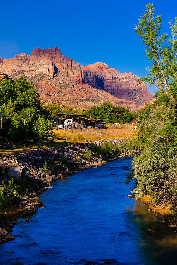 The Virgin River, near Rockville, Utah USA.