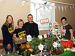 Sinead Burke, Rose Kerr and Michael Kelly from GIY with Eimear Cullen at the Cottage Market, St Peters.<br /> <br /> Photo - Jenny Matthews
