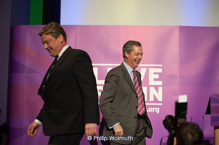 Nigel Farage and local candidate Jamie Huntman at the UKIP launch of its General Election campaign in the Movie Starr cinema, Canvey Island, South Essex.
